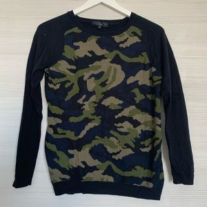 Blue, Green, and Black Camo Sweater